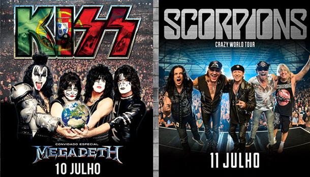 Nos dias 10 e 11 de julho o Estádio Municipal de Oeiras vai receber três das maiores lendas do rock mundial: Kiss, Megadeth e Scorpions